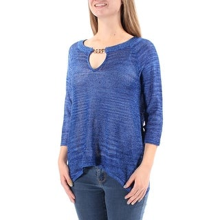 INC $80 Womens 1307 Blue Keyhole MESH 3/4 Sleeve Trapeze Casual Sweater M B+B