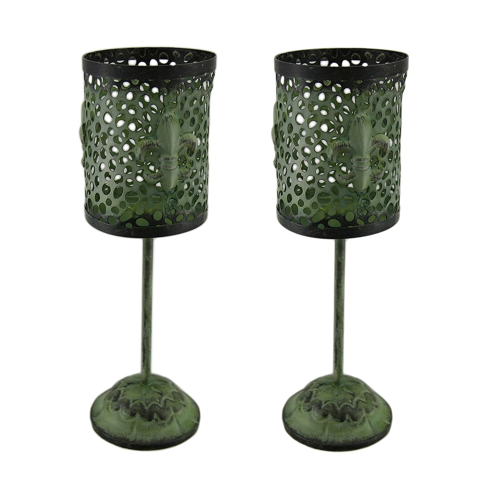 Set of 2 Green Vintage Finish Footed Metal Fleur De Lis Candleholders - 14.5 X 4.5 X 4.5 inches
