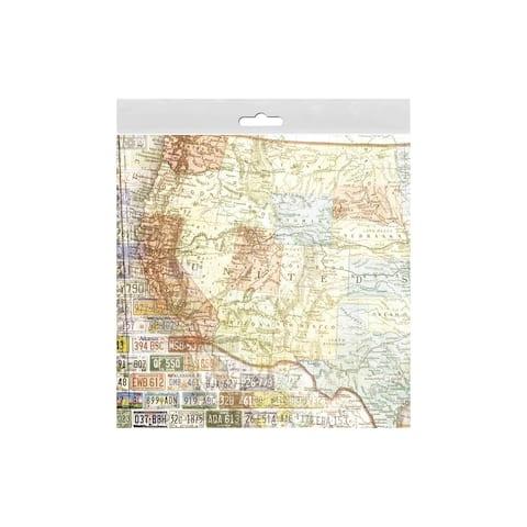 P-0493e paper house paper 12x12 us travel us map west