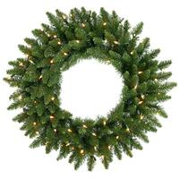 "48"" Pre-Lit Camdon Fir Artificial Christmas Wreath - Clear Dura Lights - green"