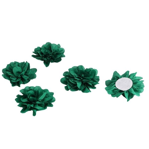 Home Wedding Party Decoration Fabric Artificial Handcraft DIY Flower Green 5 Pcs