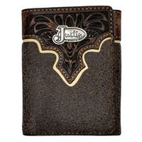 Justin Western Wallet Mens Trifold Leather Apache Brown - One size