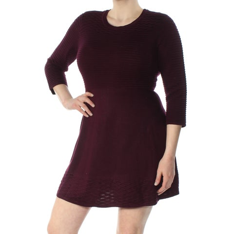 JESSICA HOWARD Womens Maroon 3/4 Sleeve Crew Neck Mini Fit + Flare Dress Petites Size: XL