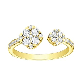 Prism Jewel 0.58Ct Round G-H/SI1 Natural Diamond Cluster Open Ring