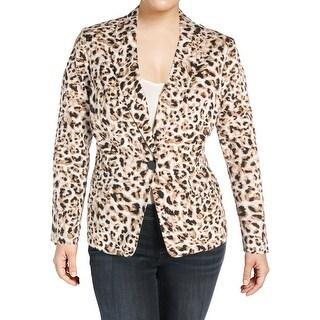 Calvin Klein Womens Plus One-Button Blazer Animal Print Long Sleeves