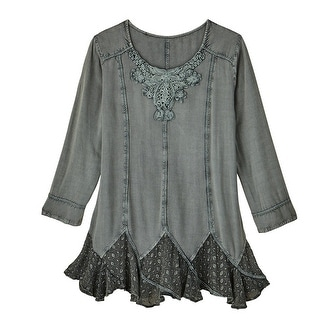 Women's Tunic Top - Misty Morning Lace-Hem Blouse Mossy Blue Green