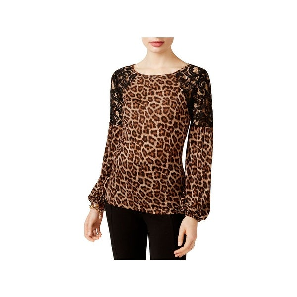33216e2f9ff3 Shop MICHAEL Michael Kors Womens Casual Top Lace Animal Print - Free  Shipping On Orders Over $45 - Overstock - 22582518