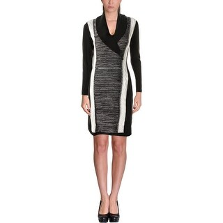 Calvin Klein Womens Sweaterdress Cable Knit Colorblock