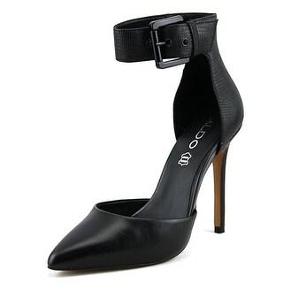 Aldo Astfeld Women Open Toe Leather Black Sandals