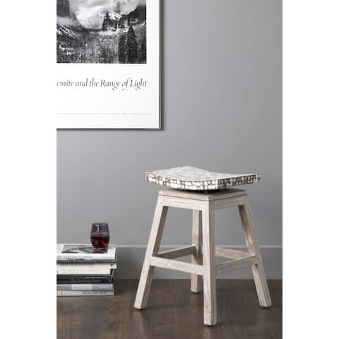 """East At Main Lawson Brown Coconut Chip Square Counter Stool - 17"""" W x 17"""" D x 24"""" H"""