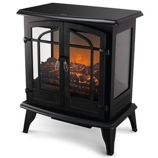 "Della 1400W Vintage Electric Stove Heater Infrared Quartz Fireplace 25"" Freestanding 3D Flame Log Stove Firebox Black"