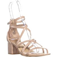 MG35 Minez Strappy Block Heel Sandals, Nude