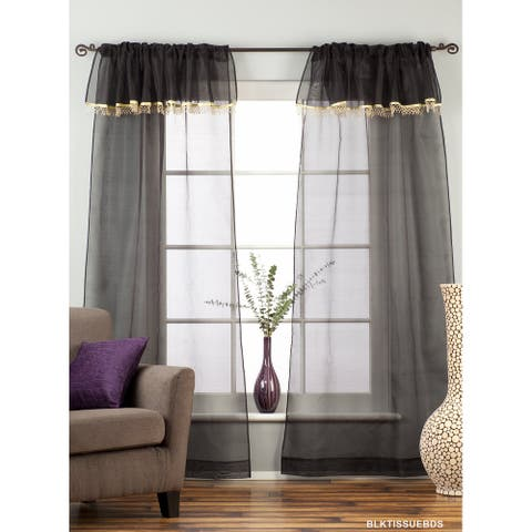 Black Rod Pocket w/ attached Beaded Valance Sheer Tissue Curtains - Piece - 43 X 84 Inches (109 X 213 Cms)