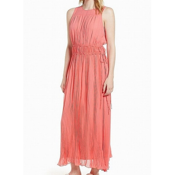e90760a5b0705 Shop Lewit Pink Pleated Chiffon Women's Size 6 Silk Ruffle Maxi ...