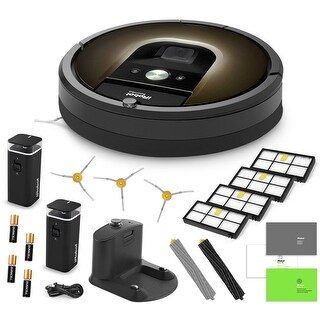 iRobot Roomba 980 Vacuum Cleaning Robot + 2 Virtual Walls + 3 SideBrushes + 4 High Efficiency Filters + AeroForce Extractors