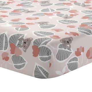 Lambs & Ivy Calypso Pink/Gray Koala with Leaf Print 100% Cotton Fitted Crib Sheet