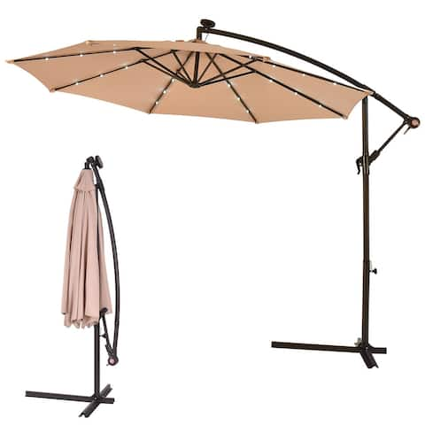 "10"" Patio Hanging Solar LED Umbrella Sun Shade - Cross Base Included - Beige"