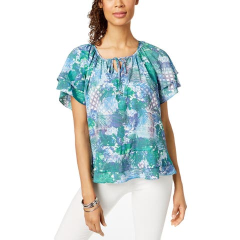 NY Collection Womens Petites Peasant Top Floral Ruffled