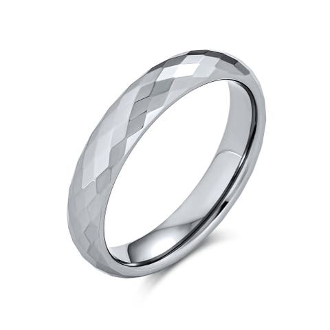 Couples Faceted Prism Cut Titanium Wedding Band Rings Comfort Fit 4MM