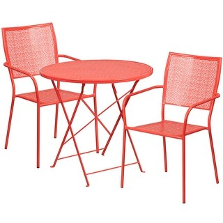 Westbury 3pcs Round 30'' Coral Steel Folding Table w/2 Square Back Chairs