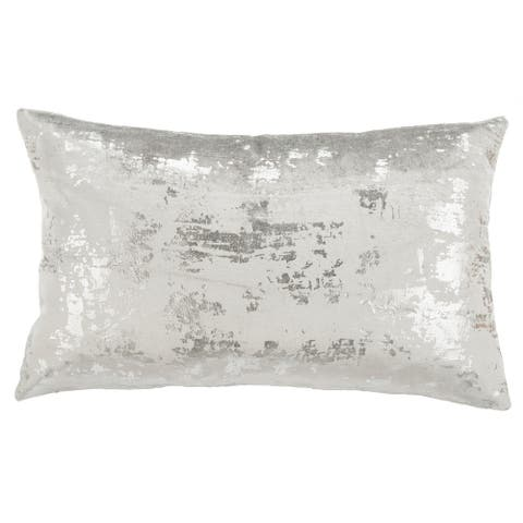 SAFAVIEH Edmee Grey/ Silver Metallic 12 x 20-inch Decorative Pillow