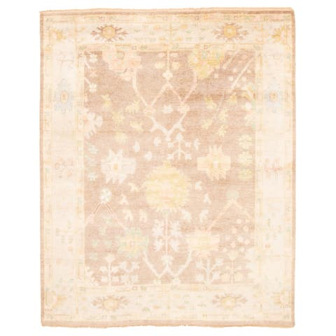 ECARPETGALLERY Hand-knotted Modern Oushak Brown Wool Rug - 7'10 x 9'6