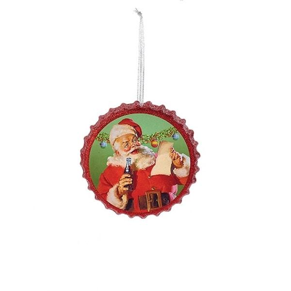 "4.25"" Red Coca Cola Santa Reading His List Bottle Cap Glitter Christmas Ornament"