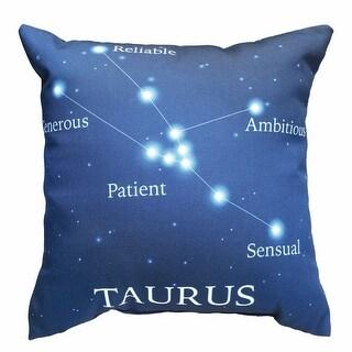 Horoscope Navy Blue Decorative Throw Pillow - Taurus