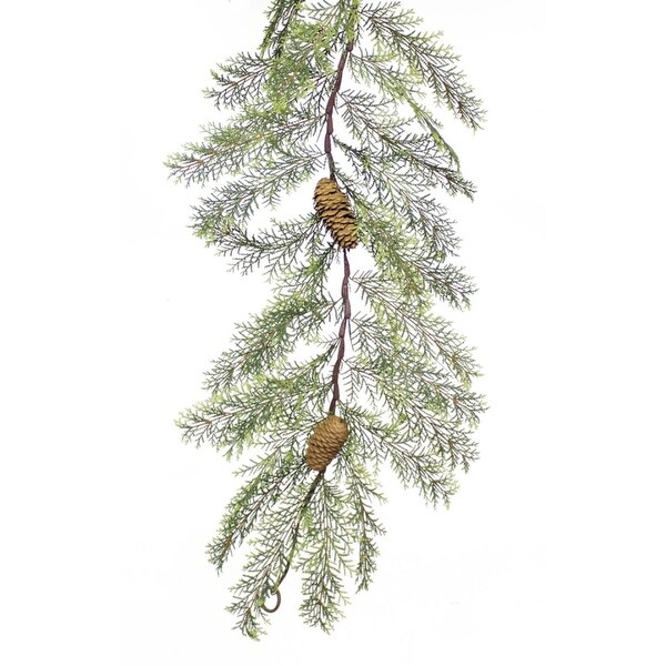Pack of 4 Winter Delight Artificial Green Cypress Garland with Pine Cones 6' - brown