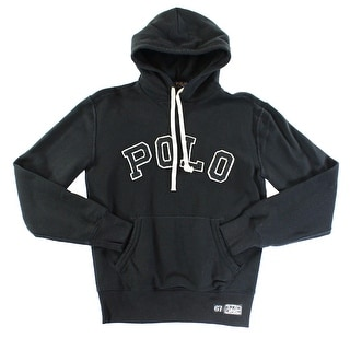 Polo Ralph Lauren NEW Black Mens Large L Hooded Embroidered Sweater