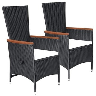 vidaXL Outdoor Chairs 2 pcs with Cushions Poly Rattan Black