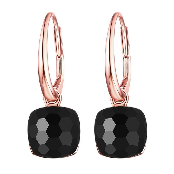 Vedantti Mini Honeycomb Cut Black Onyx Gemstone Protector Leverback Earring