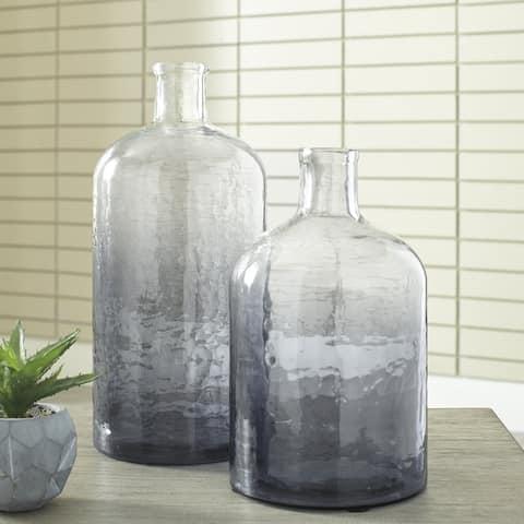 Maleah Modern Ombre Navy Blue Glass Jars - Set of 2