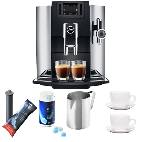 Jura E8 Espresso Coffee Machine + Cleaning Tablets + Cups + Filter + Pitcher