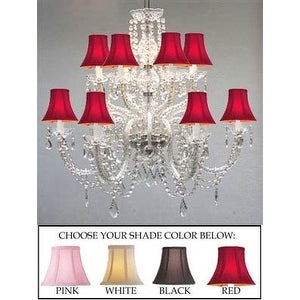 New VENETIAN STYLE ALL CRYSTAL CHANDELIER WITH WHITE SHADES!