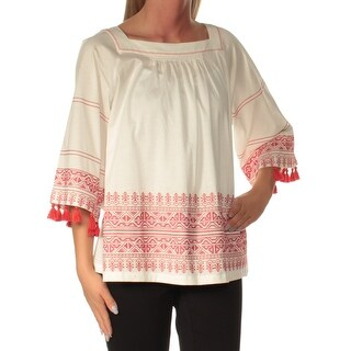 MAXMARA $150 Womens New 1077 Ivory Embroidered 3/4 Sleeve Square Neck Top S B+B