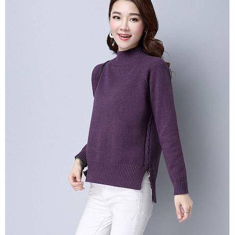 Women's Korean Half-Neck Long Sleeve Sweater Solid Color Cardigan Sweater