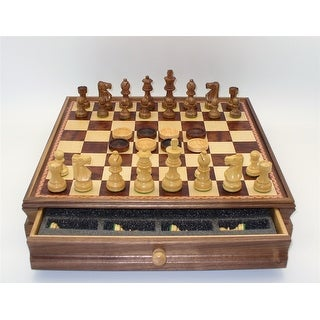3 in. Sheesham & Boxwood Chessmen, weighted & felted on 15 in.