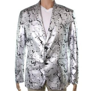 INC NEW Silver Black Mens Size XS Two Button Foil Slim Fit Blazer