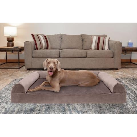 FurHaven Pet Bed Faux Fur & Velvet Cooling Gel Top Sofa Dog Bed