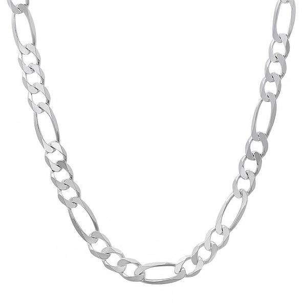 Mcs Jewelry Inc Sterling Silver White 925 Figaro Chain Necklace (8.1mm)