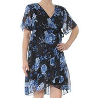 INC Womens Black Ruffled Printed Short Sleeve V Neck Above The Knee Wrap Dress Dress  Size: XS