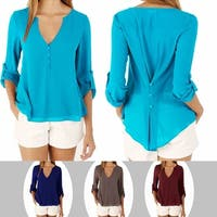 Orchid Layered Chiffon Top With Button Accents In 7 Colors