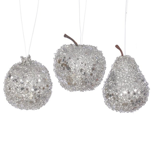 3ct Silver Beaded, Sequin and Glitter Pear, Apple and Pomegranate Fruit Christmas Ornaments