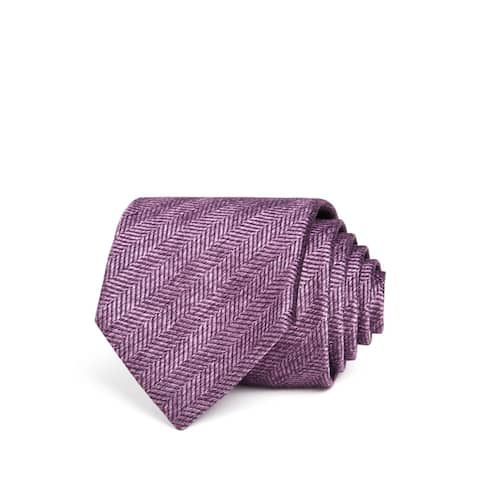 The Men's Store Men's Purple One Size Herringbone Classic Neck Tie Silk