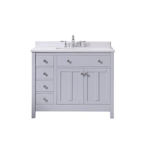 OVE Decors Newcastle 42 Dove Grey Undermount Single Sink Vanity with Marble Top
