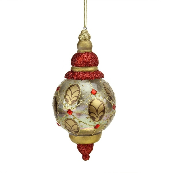 """6.25"""" Middle Eastern Style Transparent Gold Glitter Finial Christmas Ornament"""
