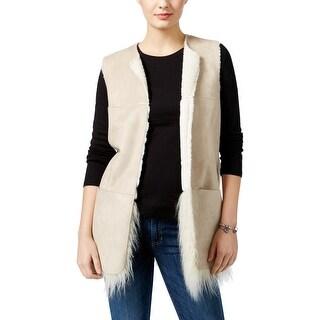 Guess Womens Nicola Casual Vest Faux Fur Reversible