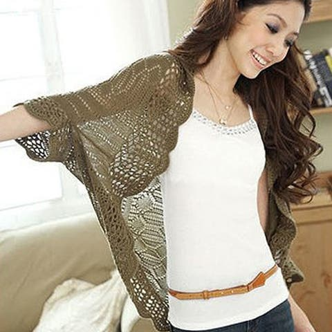Crocheted Boho Summer Shrug In 4 Colors