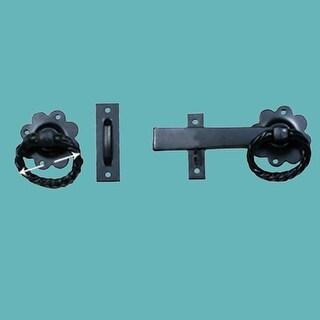 Wrought Iron Gate Latch Floral Pattern Black Rustproof 6